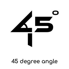 45 degree angle symbol isolated on white background , black vector sign and symbols