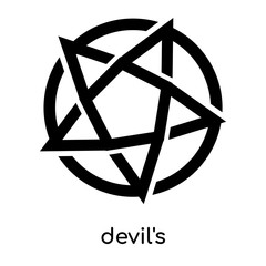 devil's symbol isolated on white background , black vector sign and symbols