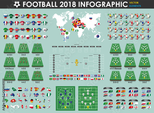 470db94e8 Football or Soccer cup infographic elements ( footballer , jersey , map ,  flag , etc. ) . Vector for international world championship tournament 2018  .