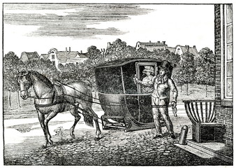 An unusual vehicle without wheels in Holland (from Das Heller-Magazin, October 4, 1834)