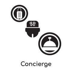 Concierge isolated on white background , black filled vector sign and symbols