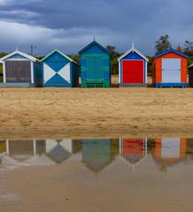 The iconic colorful beach huts on Brighton Beach in Melbourne.Australia :10/04/2018