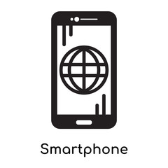 Smartphone icon isolated on white background , black filled vector sign and symbols