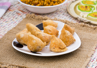 Indian Spicy Food Samosa Also know as samoosa is a fried or baked dish