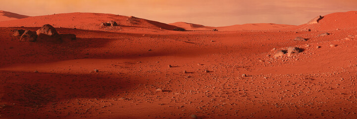 Foto op Aluminium Rood traf. landscape on planet Mars, scenic desert on the red planet
