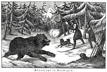 Bear hunting in Norway (from Das Heller-Magazin, September 27, 1834)