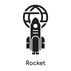 Rocket icon isolated on white background , black filled vector sign and symbols