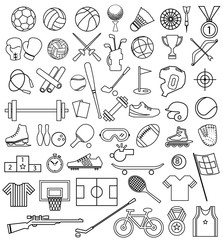 sport equipment outline icon set