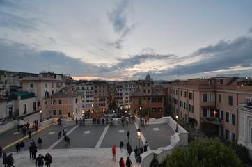 Piazza di Spagna; sky; city; town; town square