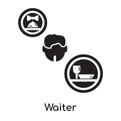 Waiter isolated on white background , black filled vector sign and symbols