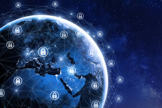 Cybersecurity and global communication, secure data network, elements from NASA