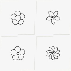 Flowers line icon set with  and flower