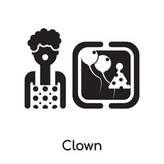 Clown isolated on white background , black filled vector sign and symbols