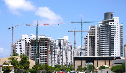 Housing construction of houses in a new area of the city