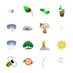 icon Nature with forest, fair-mushroom, summer, exotic and daisy chamomile flower