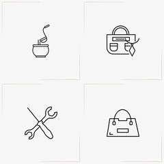 Catalog line icon set with lady bag, tureen  and tools