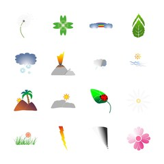 icon Nature with beach , clouds, mountain climbing, daisy and leaf pattern