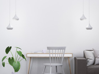 Modern interior scene with a console and a chair, 3D render