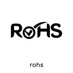 rohs symbol isolated on white background , black vector sign and symbols
