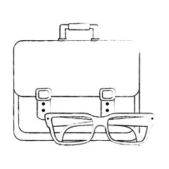 portfolio briefcase with glasses vector illustration design