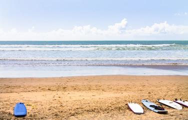 Atlantic coast. Surfboards on the beach. Atlantic Ocean. Photo travel. Leisure. Surfing. Sport