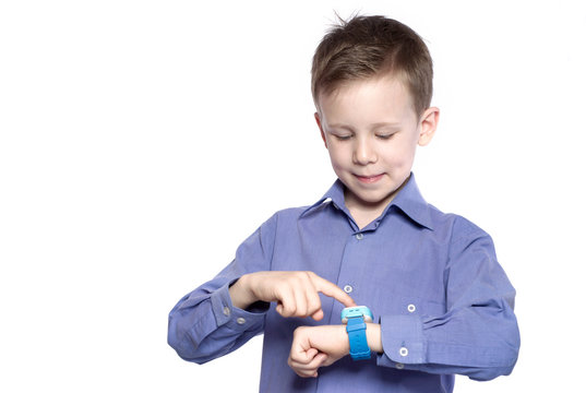 Boy weared in shirt touching the smart watch, isolated on a white #1.