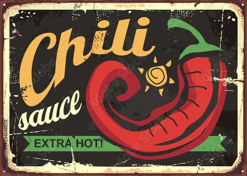chili sauce retro tin sign template design mexican food vintage