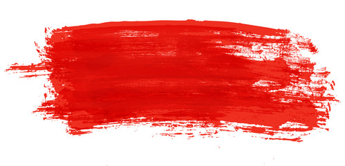 Red stroke of watercolor paint brush isolated on white Fotoväggar