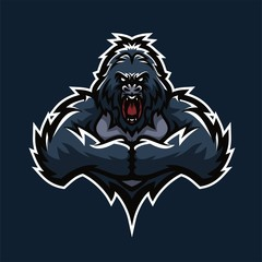 gorilla esport gaming mascot logo template