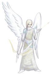 愛の弓矢を持つ天使姿のキューピッド