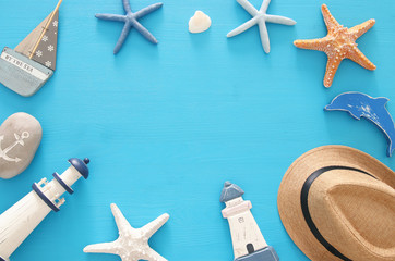 nautical, vacation and travel image with sea life style objects. Top view.