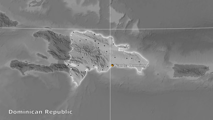 Dominican Republic, grayscale elevation - composition