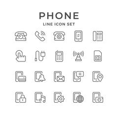 Set line icons of phone