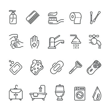 Hygiene related icons: thin vector icon set, black and white kit