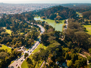 Aerial view of a Green lake park in San Francisco