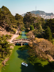 Stone bridge and a green river in San Francisco