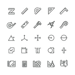 Measure related icons: thin vector icon set, black and white kit