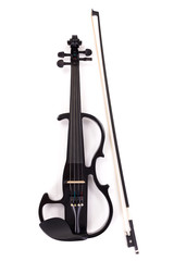 Black electric violin and bow