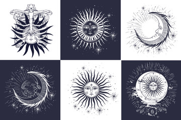 the face of the sun and the moon, the stars, the Masonic tattoo, the design of T-shirts, alchemy, Akultism, medieval religion, retro, spirituality and isoteric tattoo. space and stars. vector
