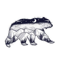 vintage retro vintage style engraving. silhouette of a bear. a landscape of wild nature by the nose. forest, trees, mountains, moon and stars. vector. sketch for printing on clothes and fabrics