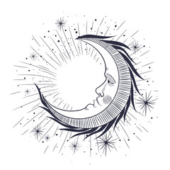 the face of the moon, the stars, the Masonic tattoo, the design of T-shirts, alchemy, Akultism, medieval religion, retro, spirituality and isoteric tattoo. space and stars. vector graphic