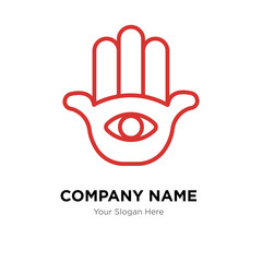 Hamsa Hand company logo design template, colorful vector icon for your business, brand sign and symbol