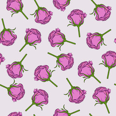 Seamless pattern with pink rose flowers on grey background. Hand drawn vector ilustration.