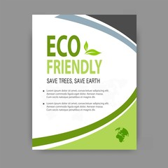 Brochure template flyer design for environment on eco friendly vector background