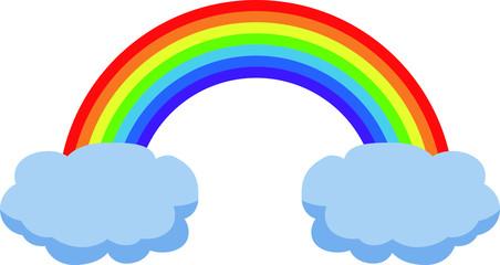 Rainy clouds and rainbow