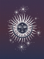 the face of the sun and the month, the stars, the Masonic tattoo, the design, alchemy, Akultism, medieval religion, retro, spirituality and isoteric tattoo. space and stars. vector