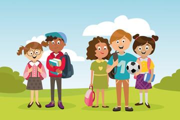 large set of children's characters of people. school pupils, fun jump, vector
