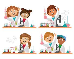 children's characters. school research in chemistry. smart children. vector
