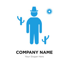 Cowboy on desert company logo design template, colorful vector icon for your business, brand sign and symbol