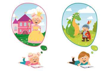 children's character. magic princess with crown, castle, brave knight and dragon vector, children read fairy tales. education and training